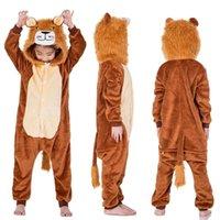 kinder flanell pyjamas groihandel-neue Jahr Karneval Kigurumi Tiger Löwe Kostüm Kind Baby mit Kapuze Baby Body Kinder Flanell für Kinder Jungen Tier Pyjamas SleepwearMX190923