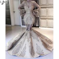 boncuklu denizkızı benzersiz balo elbiseleri toptan satış-Lüks Mermaid Gelinlik Modelleri 2019 Yeni İnanılmaz Uzun Kollu Aplikler Boncuklu Chic Abiye Benzersiz Tasarım Örgün Parti Törenlerinde