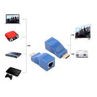 katze 5e lan kabel groihandel-2ST 1080P HDMI Extender RJ45 über Cat 5e / 6-Netzwerk LAN-Ethernet-Adapter BlueComputer / HDTV / Laptop in Audio-Video-Kabel