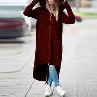 patrones de abrigo largo para mujer al por mayor-Mujeres Trench Coat Largo patrón largo prendas de vestir exteriores suelta de manga larga para mujer abrigo largo Casual Color sólido ropa de mujer