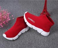 toddler walking boot großhandel-Neue Mode scherzt Schuhkinder / laufende Turnschuhe des Babys lädt Kleinkindjungen und -mädchen Wolle gestrickte athletische Sockenschuhe auf