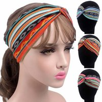 ingrosso bande di capelli del bandeau-Etnico Retro Imprimer Stretch Bandeau Stampa colorata Stretch Fascia per capelli per le donne Copricapo Cotton Cross Elastic Hair Bands Copricapo