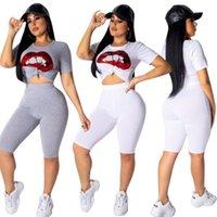 lábio da cintura venda por atacado-Novo 2 Cor Lábios Imprimir 2 Peça Set Calças de Manga Curta O Pescoço Curto T-Shirt E Casual Cintura Elástica Na Altura Do Joelho Pant Mulheres Set