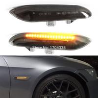 ingrosso marcatore laterale bmw-2x Ambra LED Indicatore di direzione Segnale di direzione per BMW E90 E91 E92 E93 E46 E53 X3 E83 X 1 E84 E81 E82 E87 E88 Stile lente fumo Nero