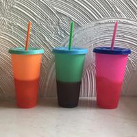 ingrosso isolate bottiglie di plastica-Bicchieri staccabili in plastica Cambia pagine a colori Bottiglie d'acqua Bicchieri isolati Protezione termica Tazza d'acqua portatile con cannuccia 5 colori RRA1751