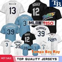 körfezi tabanı toptan satış-12 Wade Boggs Tampa 3 Evan Longoria Bay Ray Serin Baz 39 evin Kiermaier Dikişli 150th Yıldönümü Beyzbol Formalar M-XXXL
