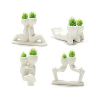 ingrosso uomo bonsai-Carino Mini Creativo uomo pianta regalo fabbrica bonsai capelli erba bambola ufficio mini pianta fantastico home decor vaso da giardino fai da te