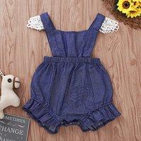 bebek kovboy toptan satış-Bebek Kız Kovboy Tulum Yaz Katı Renk Lotus Kenar Kare Yaka Romper Bebek Bebek Kız Giysi Tasarımcısı Bebek Kız Romper