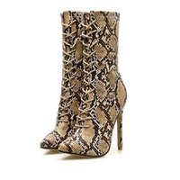 deeccc78bf56 Remise snake boots women high heels - Bottines à talons aiguilles et talons  aiguilles Printemps Nouveau