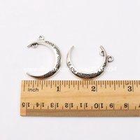 mücevher aya geri toptan satış-Bulguları Yapımı Eşsiz Kolye Bilezik Küpe Charms için Ay ve Geri Takı Aksesuar İÇİN Klasik Antik Gümüş