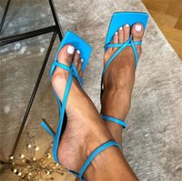 Wholesale best stilettos shoes for sale - Group buy Gladiator Sandals High Heels Shoes Fall Best Street Look Females Square Head Open Toe Clip On Strappy Sandals Women
