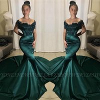 Wholesale sexy gorgeous girls for sale - Group buy 2020 Gorgeous Off the Shoulder Dark Green Prom Dresses Mermaid Satin African Girls Evening Gowns Formal Occasion Vestidos de fiesta BC2939