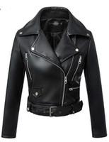corée en cuir véritable achat en gros de-2019 nouvelle mode femmes automne hiver noir Faux cuir Vestes Zipper Basic manteau col rabattu Biker Veste avec