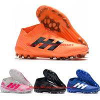 ingrosso scarpe outdoor messi-2019 scarpe da calcio da uomo Nemeziz 18+ AG scarpe da calcio alte alla caviglia Nemeziz messi 18 scarpe da calcio scarpe da calcio all'aperto