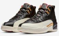 ingrosso cesto 12-Alta qualità 2019 Nuovo 12s CNY scarpe da basket uomini cinesi di nuovo anno 12 CNY bianco nero oro scarpe da ginnastica sportive con scarpe Box