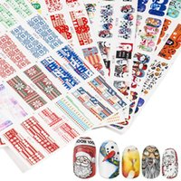 Wholesale tattoo tools for sale - Group buy Christmas Nail Decals Sheets Set Designs Black Skull Eyes Clown Zombie Decoration Manicure Tools Tattoo Nail Art Foil Set