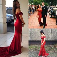 ein riemen pailletten prom kleider großhandel-2019 New Red Sexy Off Schultern Sweep Zug Satin Mermaid Prom Kleider Nach Maß Split Abendkleider Vestidos De Fiesta Party Kleider