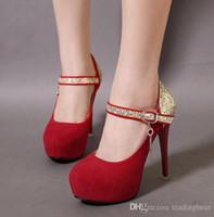 zapatos de tacones rosa bebé al por mayor-Charm2019 Baby Pink Heels Zapatos de boda Tacones rojos Barato Peep Toe Tacones con plataforma alta Zapatos de tacón de aguja 4 colores