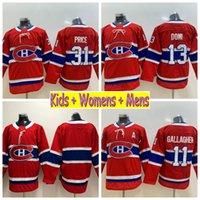 carey price çocuk formaları toptan satış-2019 Gençlik Montreal Canadiens Hokeyi Formaları 31 Carey Fiyat 11 Brendan Gallagher 13 Max Domi Çocuk Boys Mens Womens Ev Kırmızı Dikişli Gömlek