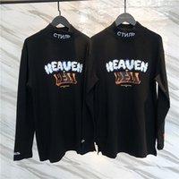camisa de manga larga de cuello alto de los hombres al por mayor-Nueva Heron Preston cuello alto camiseta hombres mujeres Streetwear Harajuku manga larga camisetas camiseta alta calidad Heron Preston camiseta