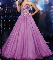 lila quinceanera kleidet rüschen großhandel-Lila Quinceanera Kleid für 15 Jahre Mädchen Ballkleid Schatz Rüschen Kristalle Bodenlangen Quinceanera Kleid Maßarbeit