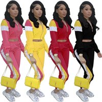 Wholesale girls sets jacket resale online - s XL Women Patchwork Tracksuit Zipper Crop Jacket Coat Pants Piece Outfits Color Match Sportswear Summer Night Suit Joggers Set A372