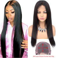 peluca dividida negra al por mayor-Recto brasileño pelucas de pelo humano con el pelo del bebé de 4 * 4 Media Parte del frente del cordón pelucas para mujeres Negro 18 pulgadas Beau diva pelucas de pelo