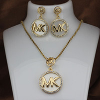 ingrosso collana della lettera dell'oro 14k-M lettera di moda donna collana orecchini set da donna pieno di diamanti T lettera orecchini pendenti in argento oro