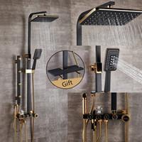 juegos de ducha al por mayor-Baño de lujo Conjunto de ducha de oro negro con ducha bidet y estante conjunto de ducha de oro grifo del baño Conjuntos de grifos de bañera