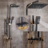 Bathroom Luxury black Golden shower set with bidet shower with shelf gold shower set bathroom faucet Bathtub Faucet Sets