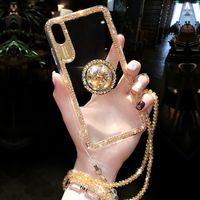 кольцо с бриллиантами оптовых-Роскошный блеск блестки с пальцем кольцо чехол для iPhone X 8 7 6 6 S плюс XR XS макс обложка мода алмаз мягкий тпу телефон коке чехол