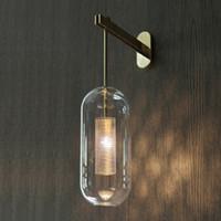 ingrosso lampade da comodino specchiate-Italy Design Wall Scone corpo illuminante nero / oro camera da letto lampada da comodino luce specchio decorazione della casa applique da parete moderno bagno interno