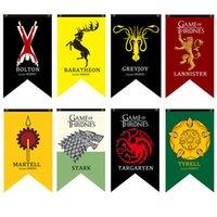 ingrosso bandiere diy-20 pz 18 Stili 70 * 125 cm Game of Thrones Flags Decorazione del giardino Bandiera FAI DA TE Decorativo Appeso Casa Banner Bandiere puntelli del partito