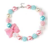 ingrosso acrylic bow beads-2019 Ragazze Fashion Glitter Bow Beaded collana 40cm rosa blu acrilico bianco perline carino bambini ewelrys bubblegum collana per la parte di compleanno