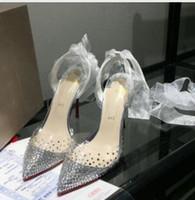 ingrosso scarpa abito trasparente-2019 vendita calda scarpe da donna trasparenti tacco alto trapano cintura di alta qualità, scarpe da sposa sexy da donna sandali da festa di moda