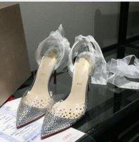 прозрачные вечерние платья оптовых-2019 горячая распродажа высокое качество дамы высокий каблук прозрачный пояс дрель платье обувь, дамы мода сексуальная партия сандалии свадебные туфли