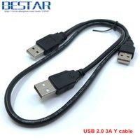 usb hdd kablolama toptan satış-Y kablosu Siyah 70 cm 0.7 m 2ft USB2.0 USB 2.0 üç A Tipi 3A Erkek HDD veri güç Y Kablosu Için Mobil Sert