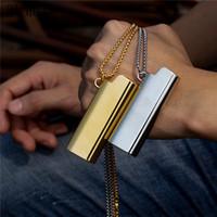 Wholesale hip silver chain for women resale online - 3UMeter New Hip Hop Pendant Necklace For Men Women Metal Lighter Set Necklace Gold Silver Gift Drop Shipping