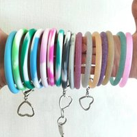 Wholesale bracelets silver glitter resale online - New Trend Colorful Glitter Silicone Bangle Key Ring Wrist Keychain Bracelet Round Key Rings Large O Cute Keyring Hot Products