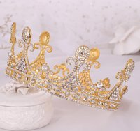 Wholesale princess key for sale - Group buy Bridal jewelry Europe and America hot sale large full circle crystal crown headdress Princess birthday crown