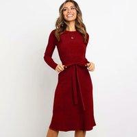ingrosso abiti di marca di ginocchio-Autunno Inverno Designer Dress Womens lusso abbigliamento delle donne breve a maniche lunghe marca vestiti delle donne con il ginocchio altamente qualità