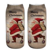 забавные рождественские носки оптовых-1Pair 3D Print Christmas Socks Womens Cotton Funny Cute Casual Socks Unisex Low Cut Ankle For Women chaussette femme #905