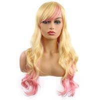 ingrosso lunga parrucca nera halloween-Parrucca riccia crespi ricci Parrucca sintetica colorata per le donne Cosplay Lolita Halloween Nero Bianco