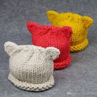baskenmützen für mädchen groihandel-Winter Nette Katze Ohr Hüte für Mädchen Kinder Kinder Kleinkind Will warmen Hut Kind gestrickten Maler Hut-Baby-beiläufige Berets Haben