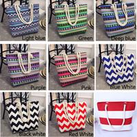 anker blau handtaschen großhandel-Frauen-Schulter-Beutel-Segeltuch-Beutel-Leinenseil-Handtaschen-einfache wilde wellenförmige Streifen-Druck-Strand-Beutel-mehrfache Art