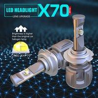объектив h4 оптовых-1 комплект H7 60W 7800LM XHP-70 LENS Chips X70 LED фара H4 H8 H9 H11 9005 9006 9012 HB3 D1S / D2S / D3S / D4S Белый 6000K 120W 15600lm