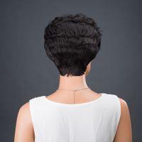 señoras peinados cortos y rizados al por mayor-Precio de fábrica 1 unid Moda Mujer Dama Negro Marrón Corto Frontal Corto Peinado Pelucas de Cabello 24 cm Cosplay Pelucas Stand Stocked Feb2