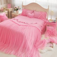 Wholesale romantic pink bedding set for sale - WINLIFE Luxury Blue Pink Purple Korean Girls Bedding Set Romantic Lace Ruffled Duvet Cover Sets Twin Full Queen King