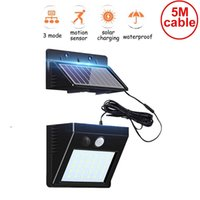 Wholesale fence mounted solar lights for sale - Group buy 5M cable leds solar light split mounting pIR motion sensor led indoor lamp waterproof ip65 for street wall garden patio deck fence new