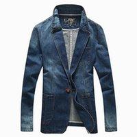 más el tamaño de chaquetas de jean azul al por mayor-2019 Moda Denim Chaqueta Casual Hombres Traje Chaqueta Hombres Abrigo Azul Hombres Prendas de abrigo Blazer Denim Plus Tamaño 3XL Jean Blazer